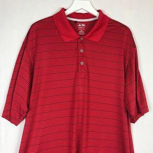 Adidas Striped Climalite Golf Collared Shirt 2XL